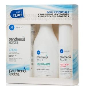 Γυναίκα Medisei Panthenol Body Essentials – Κρέμα για Ευαίσθητα Δέρματα 100ml Απαλό Καθαριστικό Mild Cleanser 200ml & Ενυδατικό Spray Body Lotion 100ml