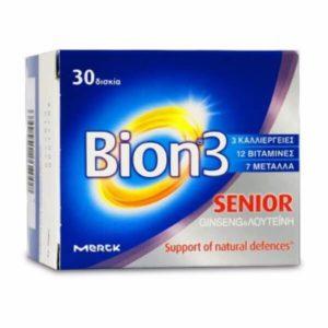 Διατροφή & Υγεία Bion 3 Senior Πολυβιταμίνη για τις Ανάγκες του Οργανισμού 50+ 30 Ταμπλέτες