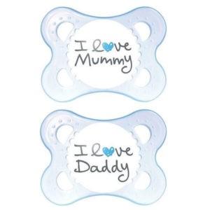 Πιπίλες - Μπιμπερό Mam I love Mummy & Daddy Πιπίλα Σιλικόνης 0-6 Μηνών 115S 2τμχ