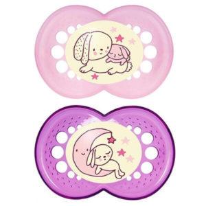 Πιπίλες - Μπιμπερό Mam Night Πιπίλα Σιλικόνης 6+ Μηνών 160S 2τμχ