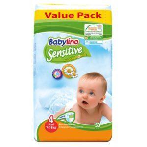 Μαμά - Παιδί Babylino Sensitive – Βρεφική Πάνα με Χαμομήλι Maxi No4 7-18 Kg 50τμχ