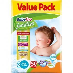 Μαμά - Παιδί Babylino Sensitive – Βρεφική Πάνα με Χαμομήλι Mini No2 3-6 Kg 50τμχ
