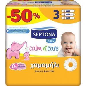 Μαμά - Παιδί Septona – Mωρομάντηλα Calm n' Care με Χαμομήλι -50% 3×64 Τεμάχια