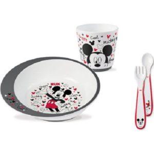 Αξεσουάρ Μωρού Nuk – Σετ Φαγητού Disney Mickey 6 Μηνών+ με Κύπελλο,Πιάτο,Πιρούνι και Κουτάλι