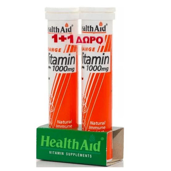 Βιταμίνες Health Aid Βιταμίνη C 1000mg με Γεύση Πορτοκάλι 20 Αναβράζοντα Δισκία 1+1 Δώρο