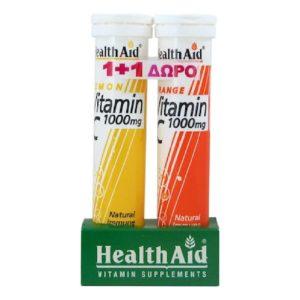 Βιταμίνες Health Aid – Βιταμίνη C 1000mg με Γεύση Λεμόνι 20 Αναβράζοντα Δισκία + με Γεύση Πορτοκάλι 20 Αναβράζοντα Δισκία (1+1)