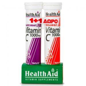Βιταμίνες Health Aid Βιταμίνη C 1000mg με Γεύση Φραγκοστάφυλο 20 Αναβράζοντα Δισκία + με Γεύση Πορτοκάλι 20 Αναβράζοντα Δισκία (1+1)