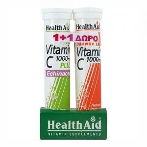 Βιταμίνες Health Aid Βιταμίνη C 1000mg με Εχινάκεια & Γεύση Λεμόνι 20 Αναβράζοντα Δισκία + με Γεύση Πορτοκάλι 20 Αναβράζοντα Δισκία (1+1)