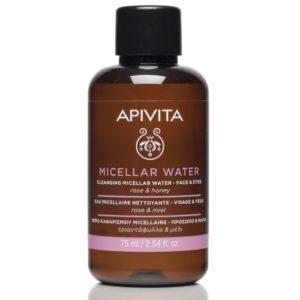 Γυναίκα Apivita – Mini Νερό Καθαρισμού Micellaire για Πρόσωπο και Μάτια με Τριαντάφυλλο και Μέλι 75ml