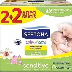 Βρεφική Φροντίδα Septona – Calm n' Care Μωρομάντηλα Sensitive 2+2 Δώρο 256τμχ