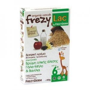 Διατροφή Βρέφους Frezyderm – Frezylac Δημητριακά Βρώμη Ολικής Άλεσης Γάλα-Μήλο και Βανίλια 200g