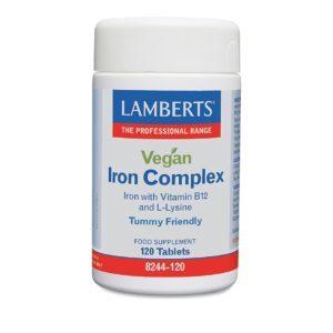 Διατροφή & Υγεία Lamberts – Vegan Iron Complex 120 Tabs Σίδηρο