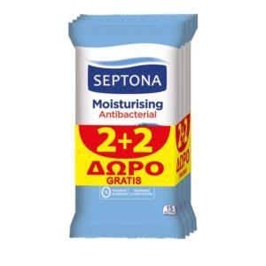 Καθαριστικά Septona – Moisturizing Antibacterial Αντιβακτηριδιακά Μαντηλάκια 2+2 Δώρο 15τμχ
