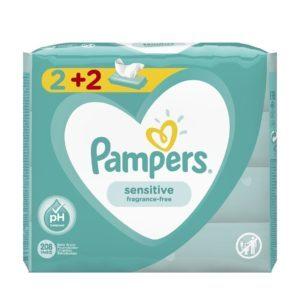 Βρεφική Φροντίδα Pampers – Sensitive Μωρομάντηλα 2+2 208τμχ