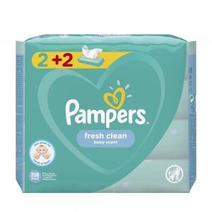 Μαμά - Παιδί Pampers – Fresh Clean Baby Scent 2+2 Βρεφικά Μωρομάντηλα 208 τμχ