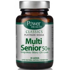 Διατροφή & Υγεία PowerHealth – Classics Platinum Multi Senior 50+ με Ginkgo biloba Bilberry Q10 Lutein 30caps