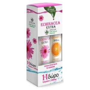 Βιταμίνες PowerHealth – Echinacea Extra με Γλυκαντικό από Στέβια και Δώρο Vitamin C 500mg