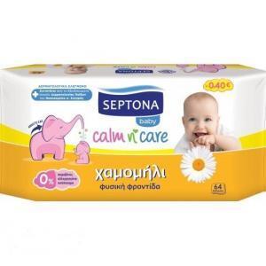 Μαμά - Παιδί Septona – Calm n Care Μωρομάντηλα με Χαμομήλι 64τεμάχια