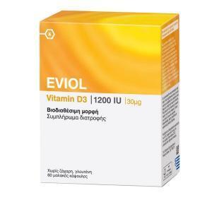 Διατροφή & Υγεία Eviol – Vitamin D3 1200iu 30μg 60 μαλακές κάψουλες