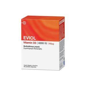 Διατροφή & Υγεία Eviol – Vitamin D3 4000IU για τη Φυσιολογική Λειτουργία των Οστών των Δοντιών και των Μυών 100μg 60 caps