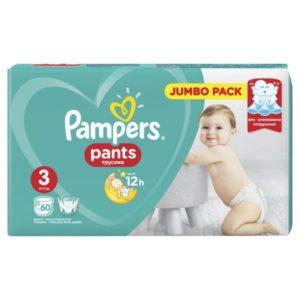 Βρεφική Φροντίδα Pampers – Pants Βρεφικές Πάνες Νο3 (6 – 11Kg) 60τμχ