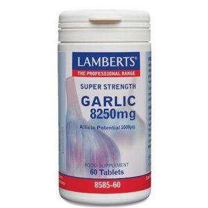 Βιταμίνες Lamberts – Garlic 8250mg Σκόρδο 60 Ταμπλέτες