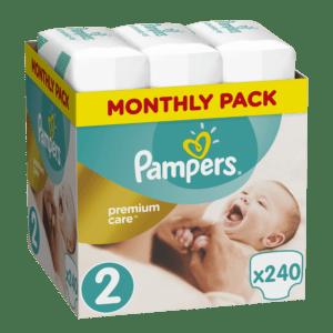 Βρεφική Φροντίδα Pampers – Premium Care Μηνιαίο Πακέτο No2 (4-8kg) Βρεφικές Πάνες 1×240τμχ