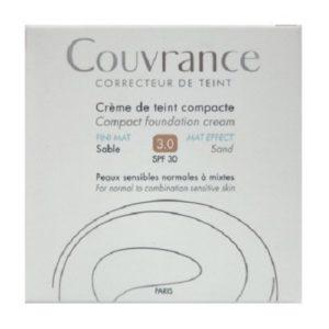 Χείλη Avene – Couvrance Creme de Teint Oil Free Κρέμα Compact για Ματ Τελείωμα 3.0 Sable SPF30 Fini Mat 10gr