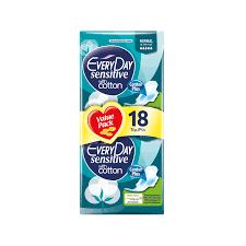 Σερβιέτες - Ταμπόν EveryDay – Sensitive with Cotton Normal Economy Pack Σερβιέτες Κανονικού Μήκους με Φτερά 18τμχ
