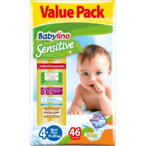 Βρεφική Φροντίδα Babylino – Sensitive No 4+ (9-20Kg) 46τμχ