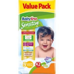 Βρεφική Φροντίδα Babylino – Sensitive No 5+ (13-27Kg) 42τμχ