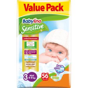 Βρεφική Φροντίδα Babylino – Sensitive No 3 (4-9Kg) 56τμχ