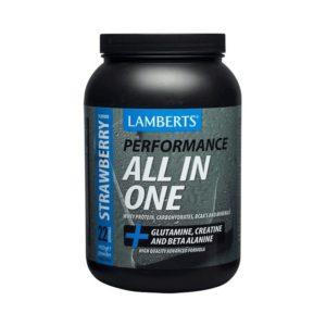 Πρωτεΐνες - Υδατάνθρακες Lamberts – Υψηλής Ποιότητας και Καθαρότητας Πρωτεΐνη Ορού Γάλακτος Ενισχυμένη με Υδατάνθρακες Γλουταμίνη Κρεατίνη Βήτα-Αλανίνη και HMB με Γεύση Φράουλα 1450g