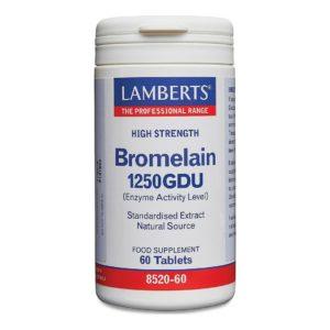Βιταμίνες Lamberts – Συμπλήρωμα Διατροφής με Μπρομελαΐνη 1250GDU 500mg 60 tabs
