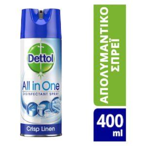 Υγεία-φαρμακείο Dettol – Spray Antibacterial All In One Disinfectant Σπρέι Αντιβακτηριδιακό Κατά των Ιών 400ml