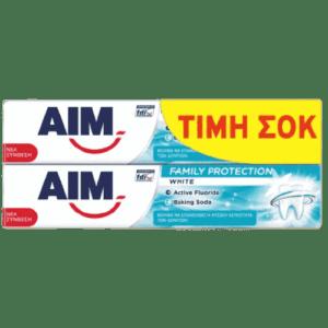 Οδοντόκρεμες-ph AIM – Family Protection White Οδοντόκρεμα 2x75ml