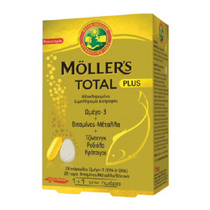 Βιταμίνες Moller's – Total Plus Συμπλήρωμα Διατροφής με Ωμέγα 3 Βιταμίνες Μέταλλα και 3 Καταξιωμένα Βότανα (28 caps + 28 tabs)