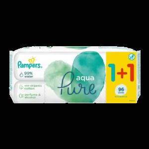Μαμά - Παιδί Pampers – Aqua Pure Μωρομάντηλα 2×48τμχ 1+1 Δώρο