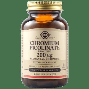 Μέταλλα - Ιχνοστοιχεία Solgar – Chromium Picolinate Πικολινικό Χρώμιο veg.caps 200mg 90 tabs