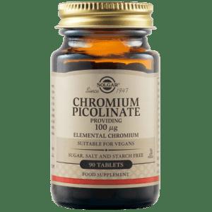 Μέταλλα - Ιχνοστοιχεία Solgar – Chromium Picolinate Συμπλήρωμα Διατροφής για τον Έλεγχο του Σακχάρου στο Αίμα 100mcg 90 tabs