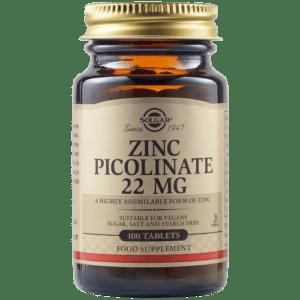 Μέταλλα - Ιχνοστοιχεία Solgar – Zinc Picolinate Συμπλήρωμα διατροφής 22 mg 100 Tablets
