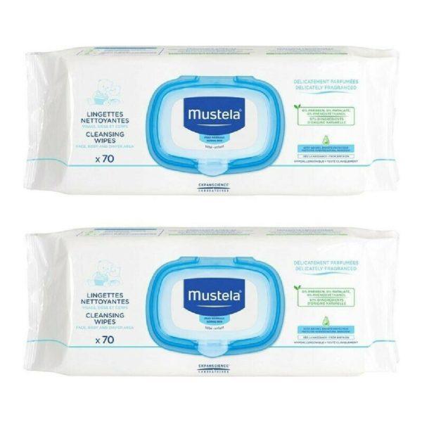 Σετ & Ειδικές Προσφορές Mustela – Promo Dermo-Soothing Wipes Μαντηλάκια Καθαρισμού για Αλλαγή Πάνας 2×70 τμχ