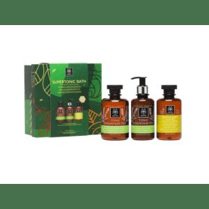 Αφρόλουτρα Apivita – Supertonic Bath Σετ με Αφρόλουτρο Τσάι του Βουνού 300ml και Γαλάκτωμα Σώματος Τσάι του Βουνού 200ml και Σαμπουάν για Καθημερινή Χρήση με Χαμομήλι και Μέλι 250ml