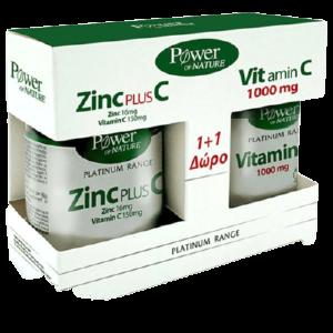 Βιταμίνες PowerHealth – Platinum Range Ψευδάργυρος 16mg Plus C 150mg 30caps και Βιταμίνη C 1000mg 20caps