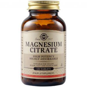 Άγχος - Στρες - Χαλάρωση Solgar – Magnesium Citrate 200mg Κιτρικό Μαγνήσιο για το Μυϊκό και το Νευρικό Σύστημα 120tabs