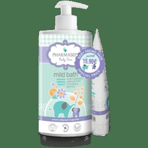 Σαμπουάν - Αφρόλουτρα Βρεφικά Pharmasept – Promo Baby Mild Bath Απαλό Βρεφικό Αφρόλουτρο για Σώμα & Μαλλιά 1Lt και Δώρο Liquid Power Κρέμα Σώματος με Φυσική Πούδρα 150ml