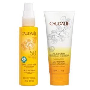 Άνοιξη Caudalie – Promo Trousse Vide Duo Solaire 2021: Tan Prolonging Λοσιόν Ενυδατική για Μετά τον Ήλιο 75ml & Spray Solaire SPF50 75ml