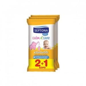 Μαμά - Παιδί Septona – Baby Calm n' Care Μωρομάντηλα με Χαμομήλι (2+1 Δώρο) 3×12τμχ