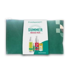Καλοκαίρι Pharmasept – Summer Rescue Pack Απωθητικό Σπρέι για Κουνούπια και Σκνίπες 100ml & Flogo Σπρέι για Εγκαύματα 100ml & SOS After Bite 15ml & Κρέμα για Μώλωπες 15ml