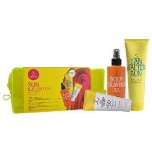 Καλοκαίρι Youth Lab – Promo Sun & After Sun Value Set για Κάθε Επιδερμίδα: Έγχρωμη Αντηλιακή Κρέμα Προσώπου SPF50 για Κάθε Επιδερμίδα 50ml & Body Guard Αντηλιακό Γαλάκτωμα Προσώπου-Σώματος SPF30 200ml & Δώρο Tan & After Sun Κρεμοτζέλ 150ml